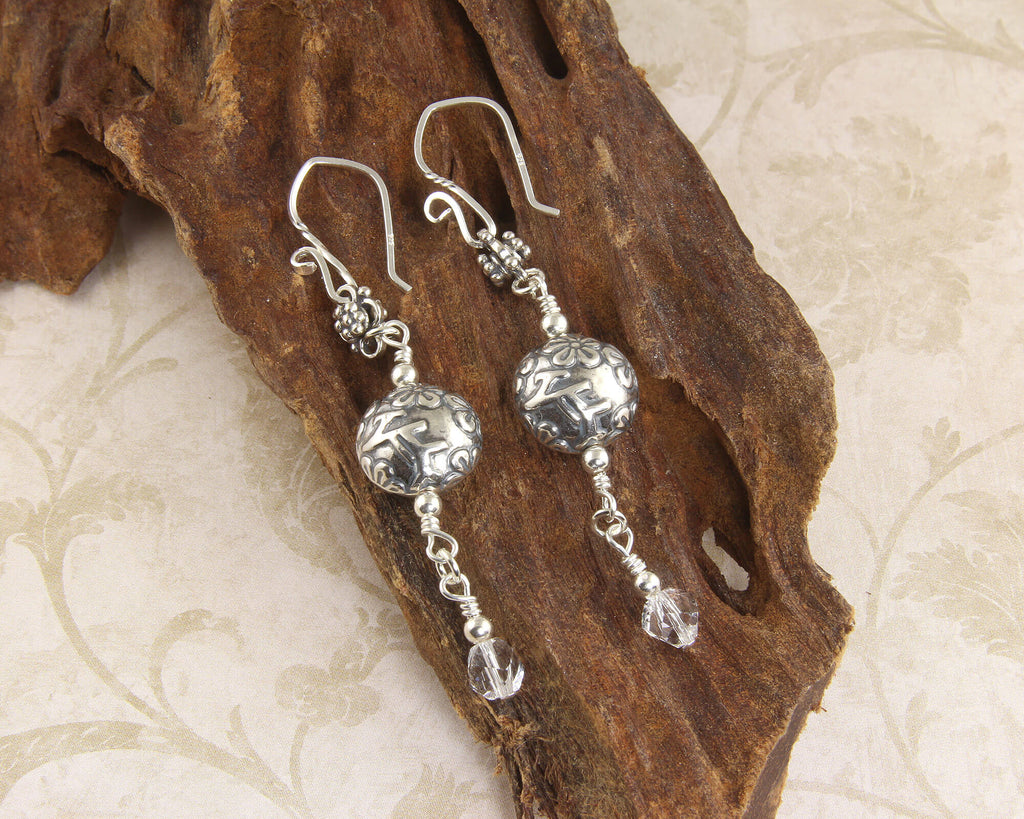 Bali Floral Crystal Drop Earrings