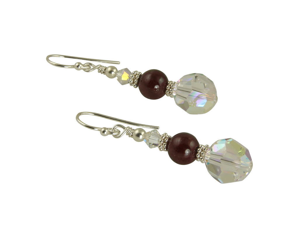 Garnet Gemstone Crystal Beaded Earrings