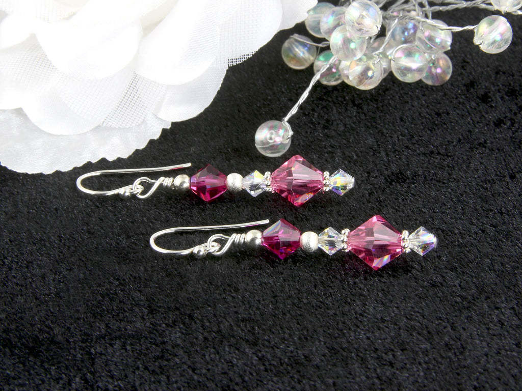 Fuchsia Rose Pink Crystal Beaded Earrings