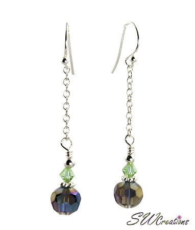 Purple Cantaloupe Crystal Drop Earrings - SWCreations