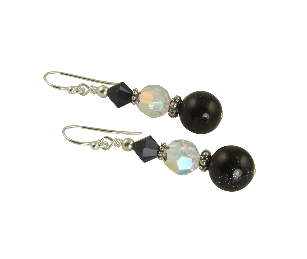 Blue Goldstone Crystal Beaded Earrings