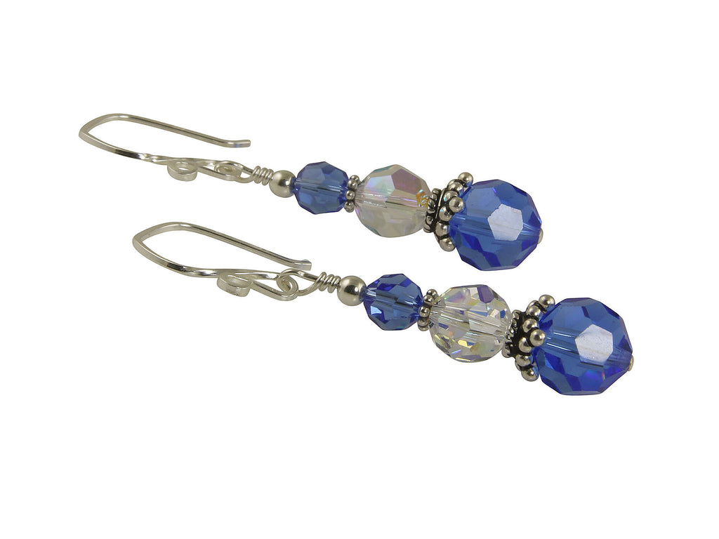 Glistening Sapphire Crystal Drop Earrings