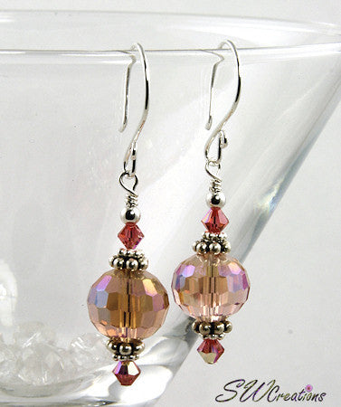 Shimmering Peach Crystal Beaded Earrings - SWCreations
