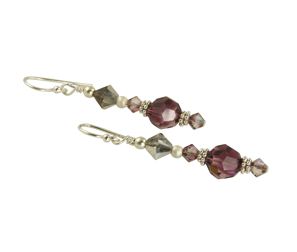 Amethyst Crystal Drop Bead Earrings