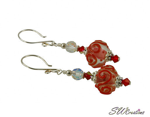 Flaming Red Crystal Lampwork Beaded Earrings - SWCreations