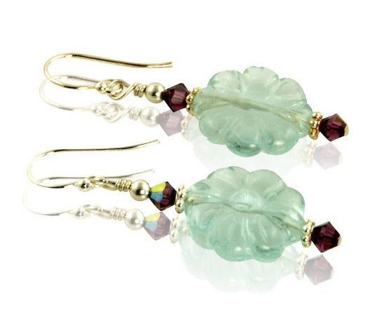 Aqua Flower Gemstone Beaded Earrings - SWCreations