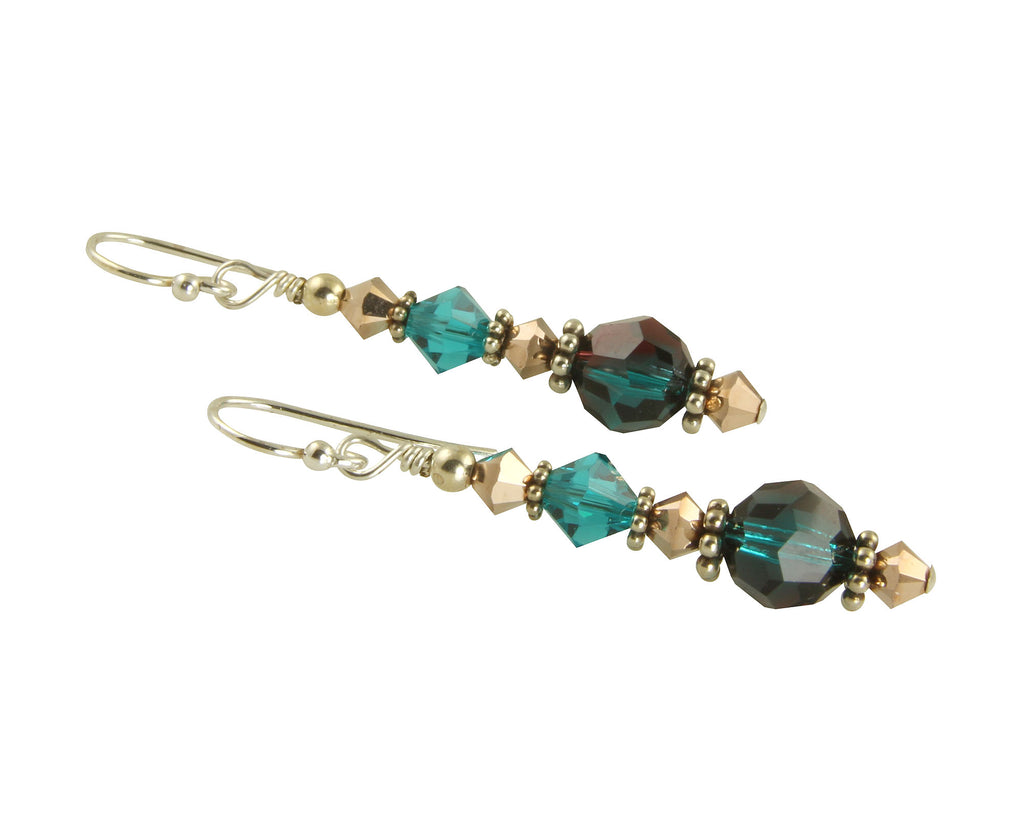 Emerald Gold Crystal Crystal Earrings