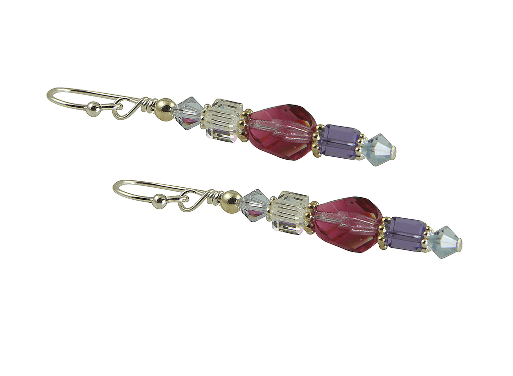 Fuchsia Tanzanite Crystal Beaded Earrings