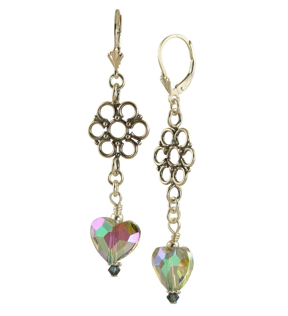 Mystic Swarovski Heart Crystal Earrings, Sterling Silver
