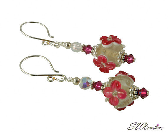Romantic Fuchsia Pink Lampwork Beaded Earrings - SWCreations