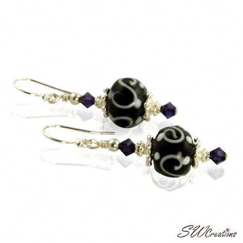 Dark Purple Lampwork Crystal Beaded Earrings - SWCreations