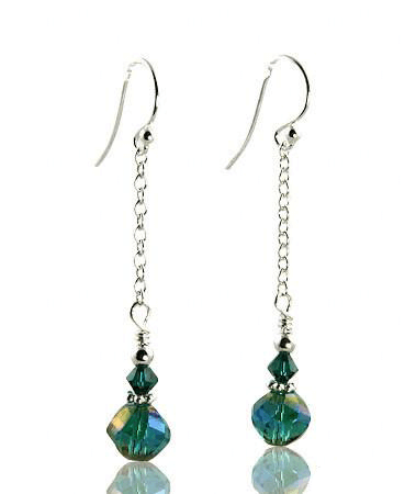 Emerald Teal Crystal Drop Beaded Earrings