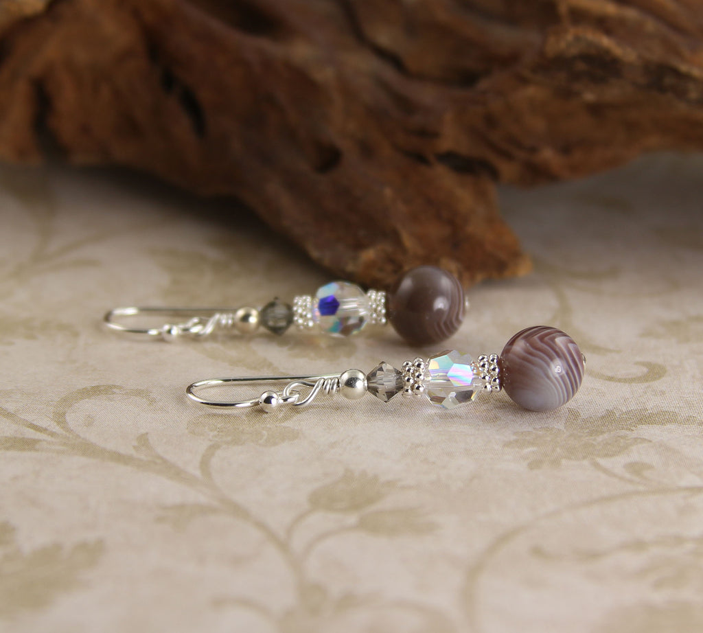 Banded Agate Crystal Gemstone Earrings