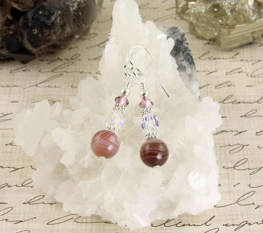 Banded Pink Agate Crystal Gemstone Earrings