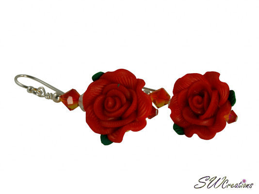 Red Fire Rose Flower Beaded Earrings - SWCreations