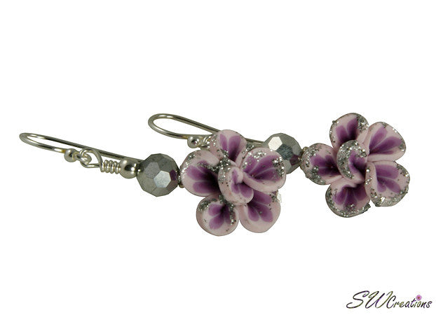 Glistening Purple Flower Beaded Earrings - SWCreations
