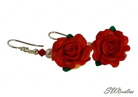 Red Pearl Rose Crystal Beaded Earrings - SWCreations