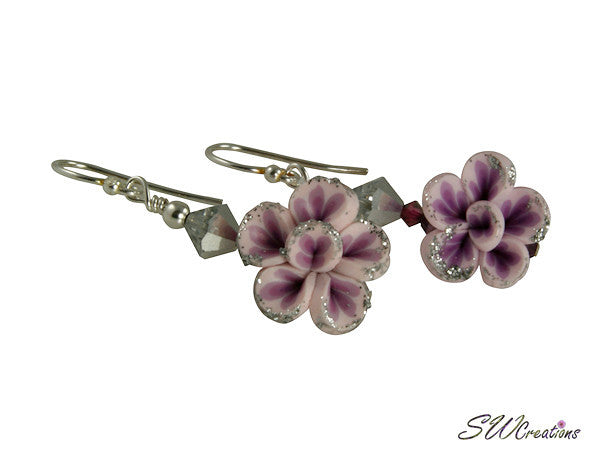Lavender Silver Floral Beaded Earrings - SWCreations
