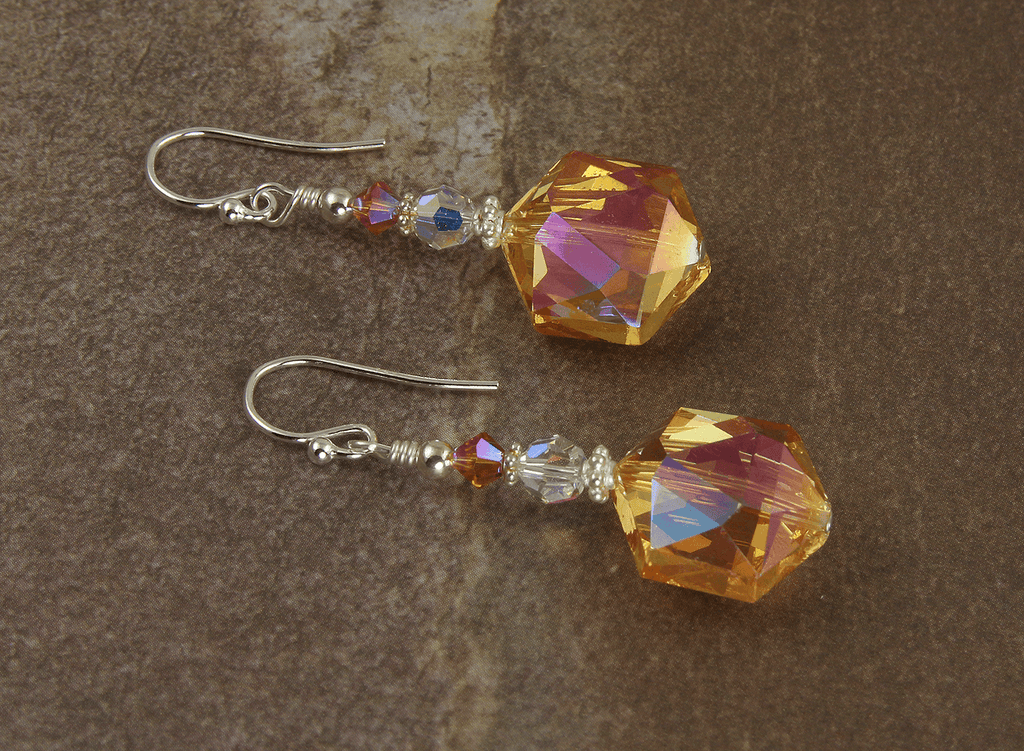 Tangerine Orange Crystal Beaded Earrings