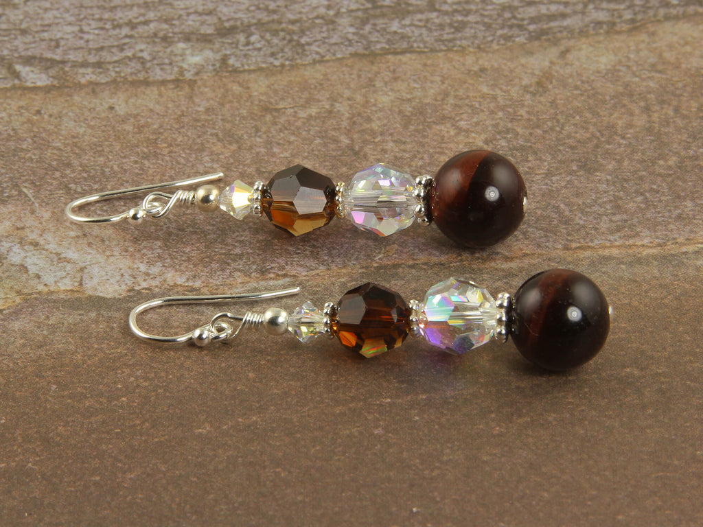 Red Tigers Eye Crystal Beaded Earrings