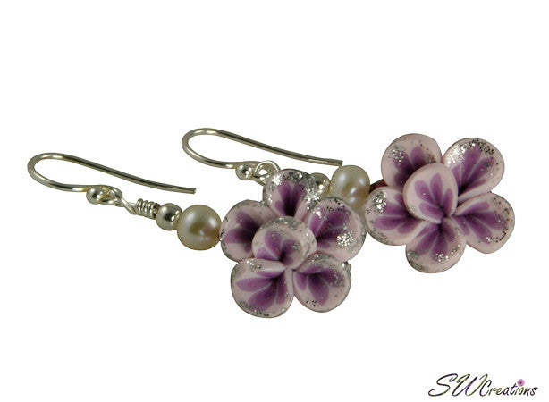 Glistening Purple Flower Pearl Earrings - SWCreations