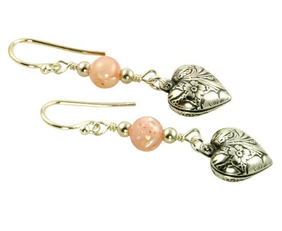 Pink Shell Floral Heart Charm Earrings - SWCreations