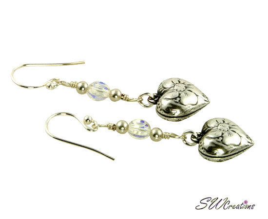 Sparkling Crystal Floral Heart Charm Earrings - SWCreations