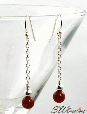 Carnelian Gemstone Drop Earrings - SWCreations