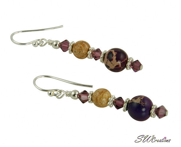 Purple Varascite Jasper Gemstone Beaded Earrings - SWCreations