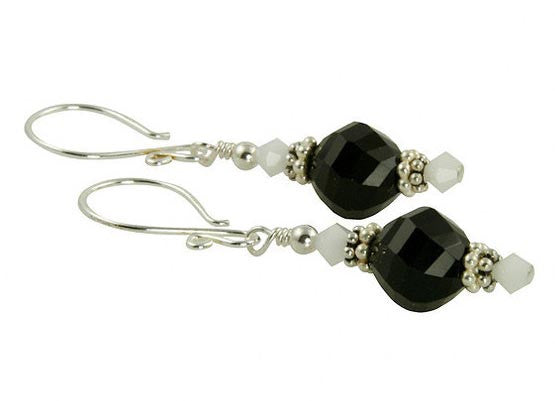 Bianco e Nero Beaded Crystal Earrings - SWCreations