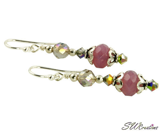 Radiant Rose Pink Beaded Crystal Earrings - SWCreations