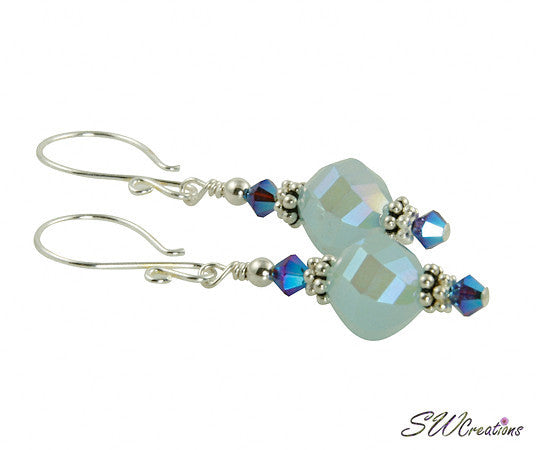 Iridescent Mystic Blue Beaded Crystal Earrings - SWCreations