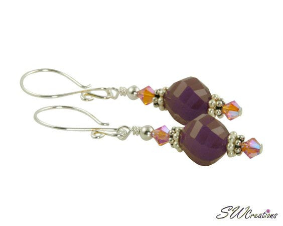 Amethyst Iridescent Pink Beaded Crystal Earrings - SWCreations