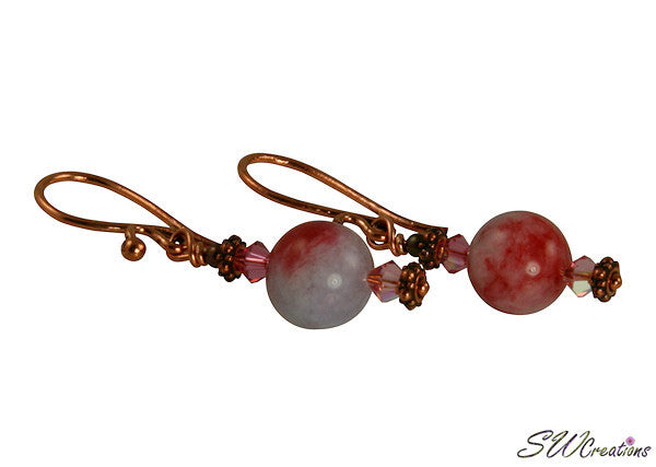 Copper Jade Gemstone Handmade Earrings - SWCreations