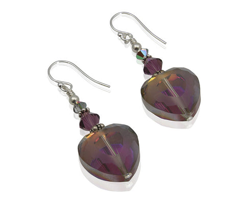 Amethyst Crystal Heart Beaded Earrings - SWCreations