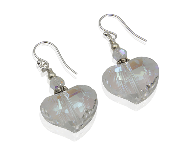 Shimmering Crystal Heart Beaded Earrings - SWCreations