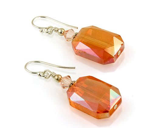 Peach Crystal Beaded Earrings - SWCreations