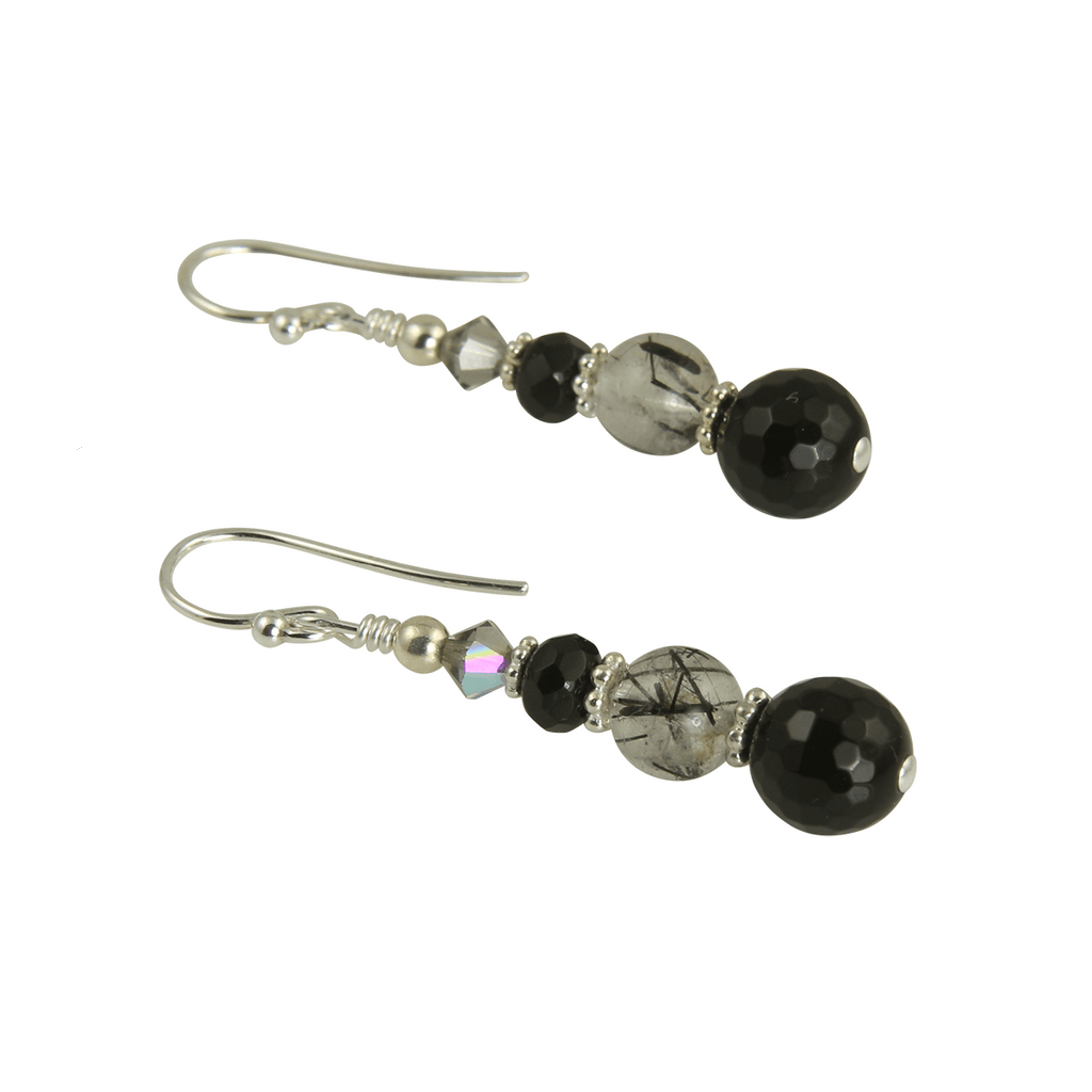 Onyx Quartz Gemstone Beaded Earrings