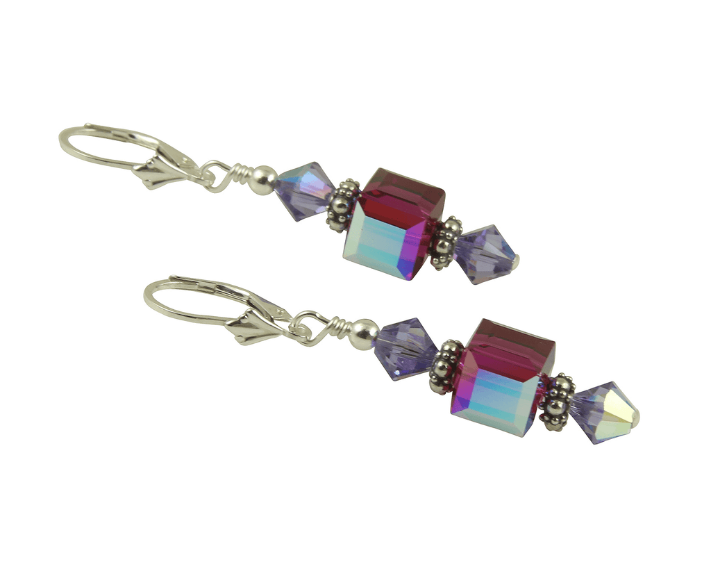 Fuchsia Tanzanite Cube Crystal Earrings