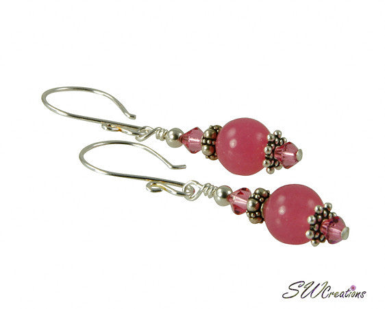 Pink Jade Gemstone Crystal Beaded Earrings - SWCreations