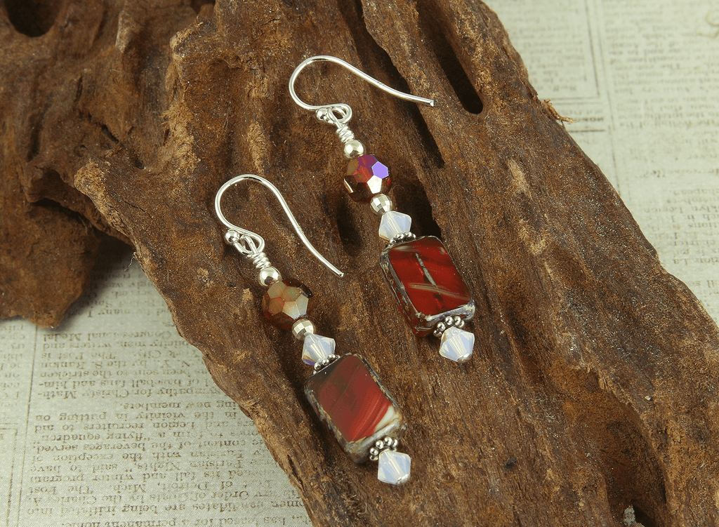 Red Opal Czech Glass Earrings