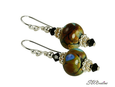 Artisan Swirls Black Handmade Earrings - SWCreations