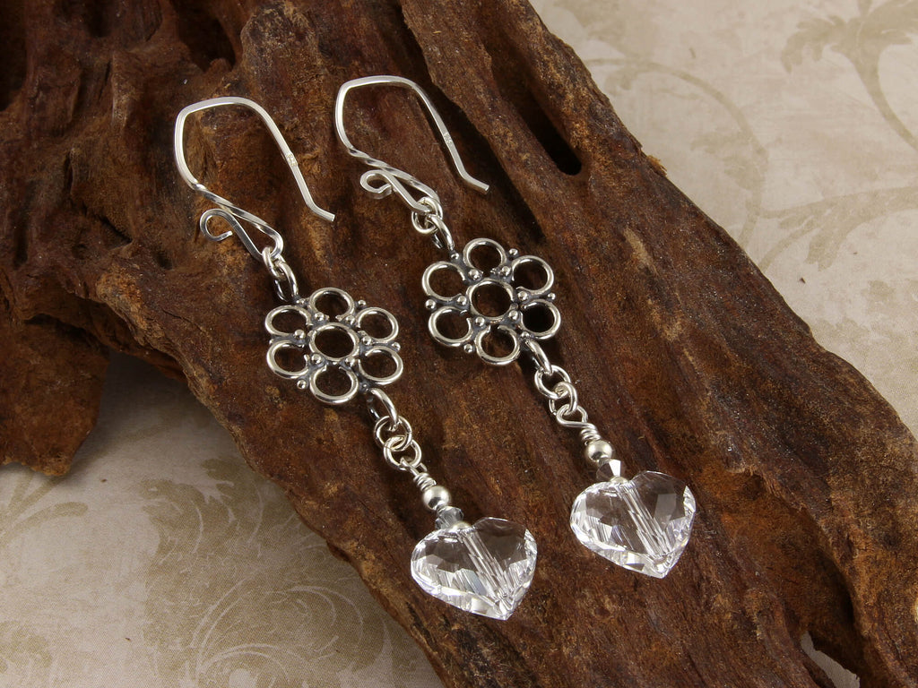 Fancy Swarovski Heart Crystal Earrings, Sterling Silver