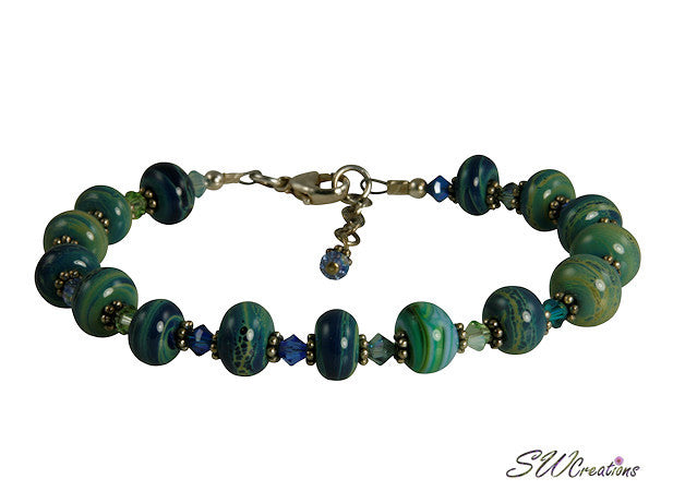 Ocean Green Blue Lampwork Bead Bracelet - SWCreations