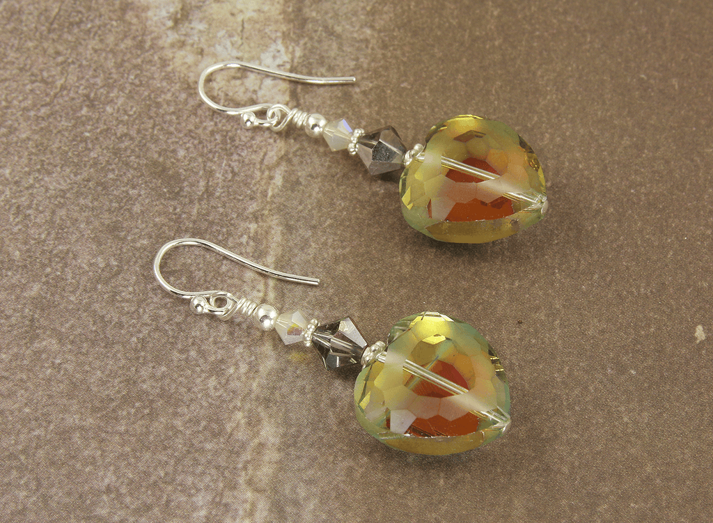Sunset Crystal Heart Beaded Earrings