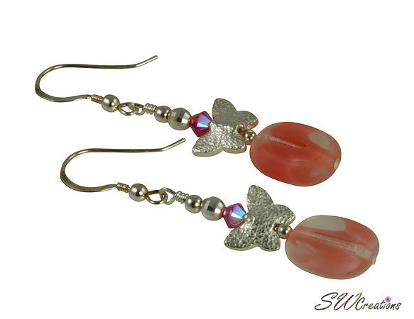Candy Pink Butterfly Handmade Earrings - SWCreations