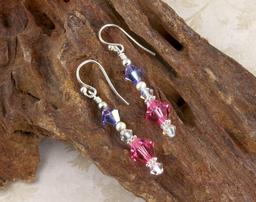 Tanzanite Pink Crystal Beaded Earrings