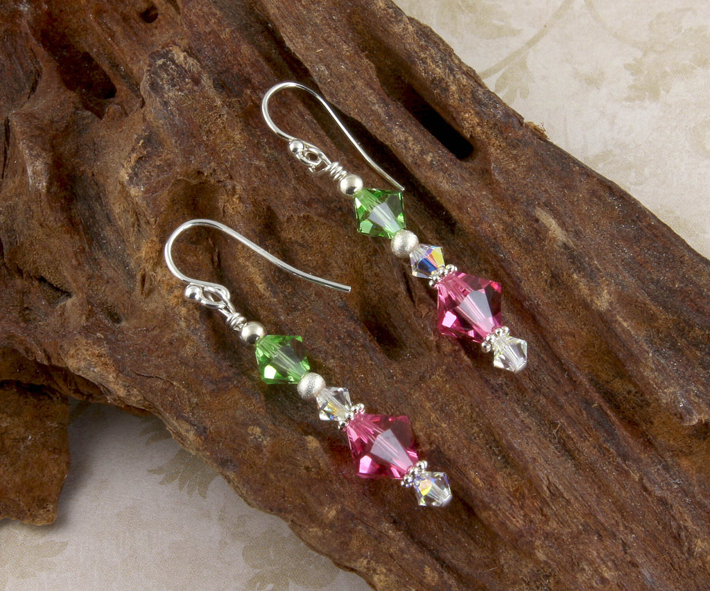 Peridot Pink Crystal Beaded Earrings