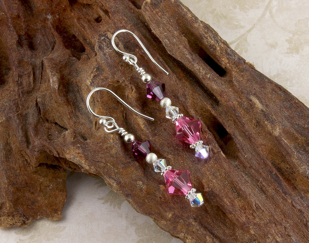 Amethyst Pink Crystal Beaded Earrings