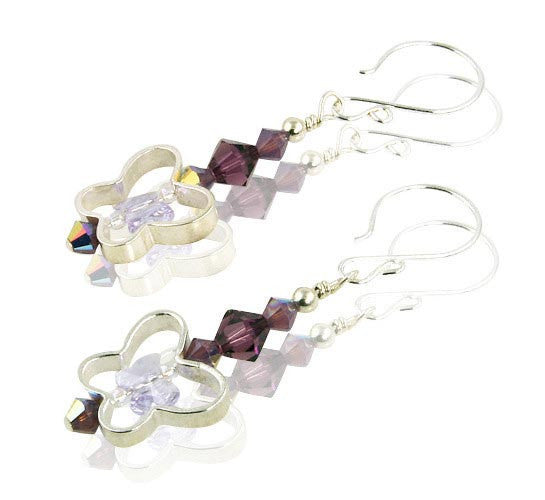 Amethyst Butterfly Dreams Crystal Beaded Earrings - SWCreations